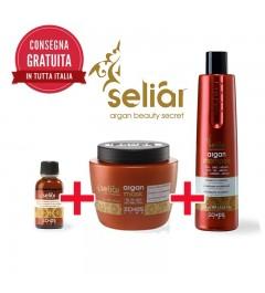 Kit Shampoo capelli 350 ml + Maschera Capelli 500 ml + Fluido 30 ml Seliar a base di argan, seta e lino