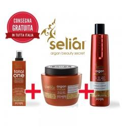 Kit Shampoo Capelli 350 ml + Maschera Capelli 500 ml + Maschera Spray Total One Seliar a base di olio di argan