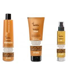Kit Seliar Luxury Shampoo 350 ml + Maschera 300 ml + Olio 100 ml per capelli secchi e opachi