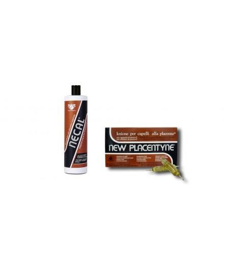 KIT ANTICADUTA alla Placenta Shampoo NECAL 1000ml + Lozione Anticaduta (12 Fiale da 10ml) - NEW PLACENTINE