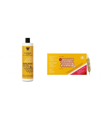 KIT ANTICADUTA E ANTIFORFORA Trattamento alla Pappa Reale Shampoo Royal Jelly 1000ml + Lozione (12 Fiale da 10ml) - ROYAL JELLY
